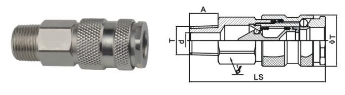 Convenient Pneumatic Quick Disconnect Couplings LSQ-25 Rectus 25KA In Brass