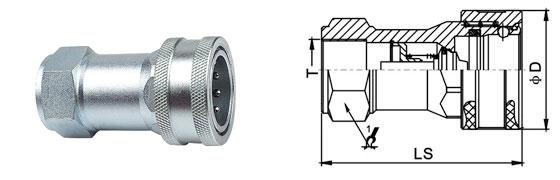ISO A Hydraulic Quick Connect Couplings , Chrome Three Flat Face Hydraulic Coupler