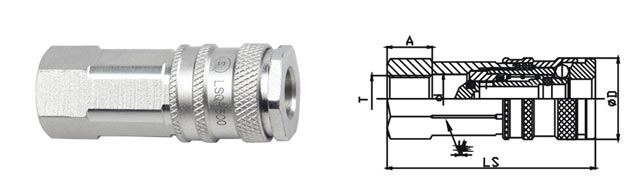1.6 Mpa Pneumatic Quick Connect Coupling , LSQ-300 CEJN 300 Type Quick Connect Coupling