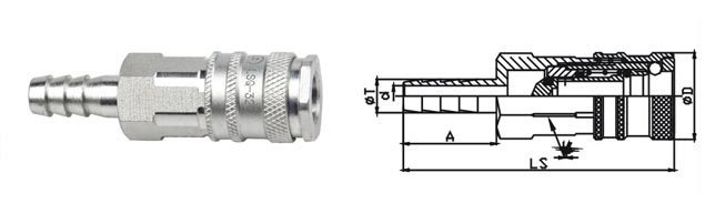 Small Size Pneumatic Quick Connect , 7.6mm High Pressure Quick Couplings