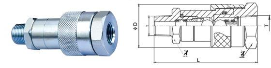 Carbon Steel Threaded Quick Connect , KZE-B NPT Thread High Pressure Quick Couplings