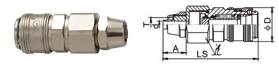 Handiness Compressed Air Quick Connect Disconnect Couplings LSQ-AB In Brass