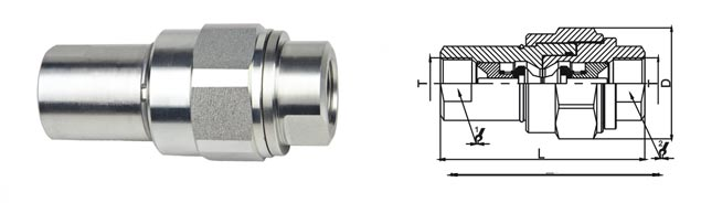 Screw Type Hydraulic Quick Disconnect Couplings KZE-BA In Carbon Steel Chrome Three