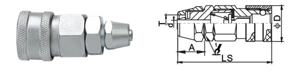 Material Optional Air Quick Disconnect Couplings In Carbon Steel Chrome Three