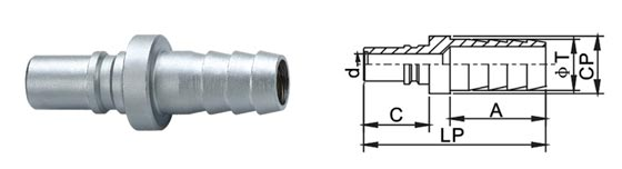 1.0 MPa Pneumatic Quick Disconnect Couplings , Medium Type Quick Connect Coupling