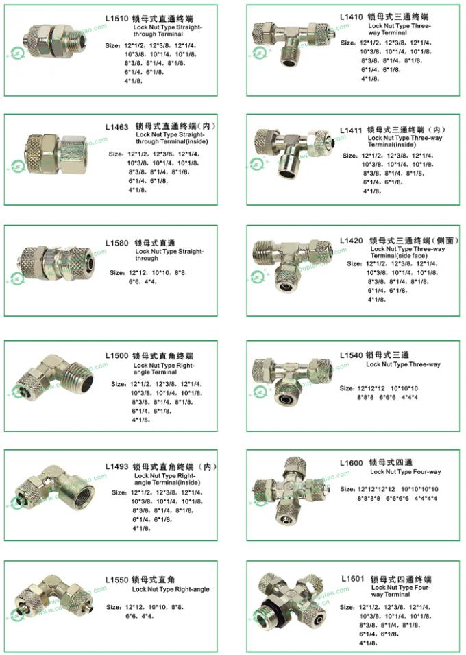 Knurling Nut Type Pneumatic Line Fittings In Brass Nickle Plated Optional Size
