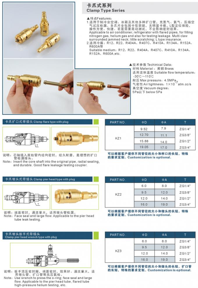Clamp Type Series Refrigeration Couplings , Pressure Proof Refrigeration Tube Fittings